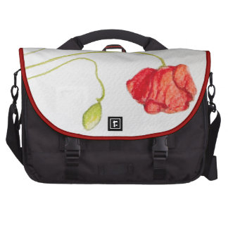 Flores rojas pintadas a mano de las amapolas bolsas de portatil