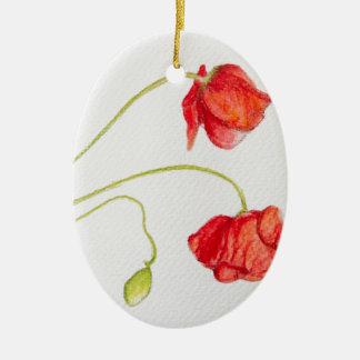 Flores rojas pintadas a mano de las amapolas adorno ovalado de cerámica