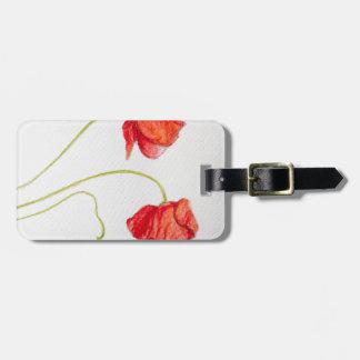 Flores rojas pintadas a mano de las amapolas etiqueta de equipaje