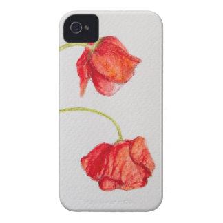 Flores rojas pintadas a mano de las amapolas iPhone 4 Case-Mate cárcasa