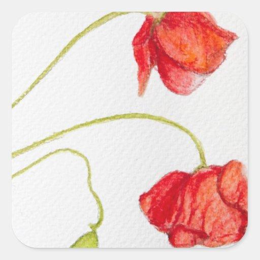 Flores rojas pintadas a mano de las amapolas calcomania cuadrada personalizada