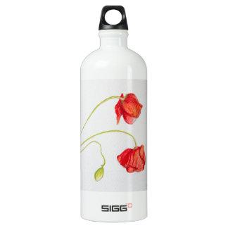 Flores rojas pintadas a mano de las amapolas