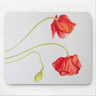 Flores rojas pintadas a mano de las amapolas alfombrillas de raton