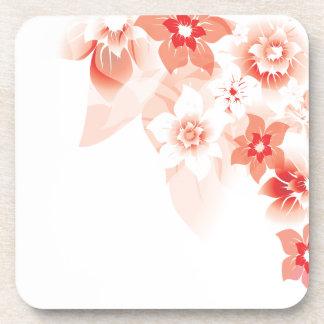 Flores rojas suaves - práctico de costa del corcho posavasos de bebidas