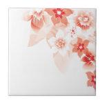 Flores rojas suaves - Trivit - 1 Teja Cerámica