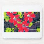 Flores rojas tapete de ratones