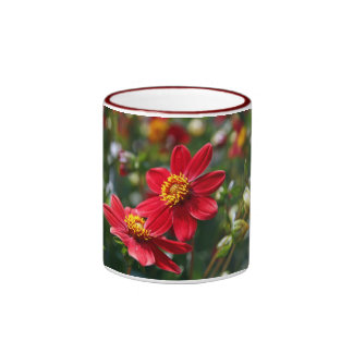 Flores rojas taza de dos colores