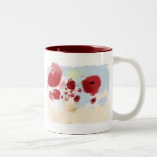 Flores rojas taza de dos tonos