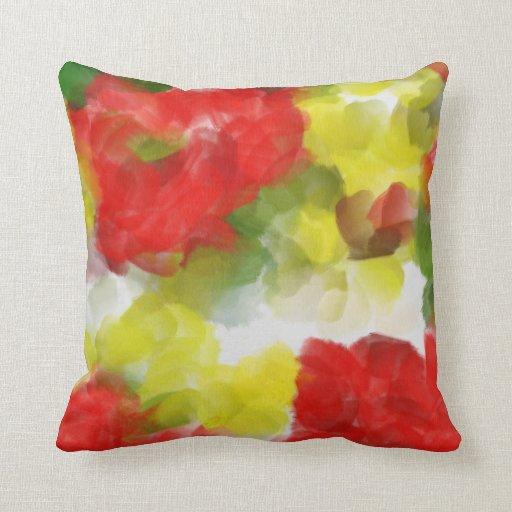 Flores rojas y amarillas abstractas almohadas