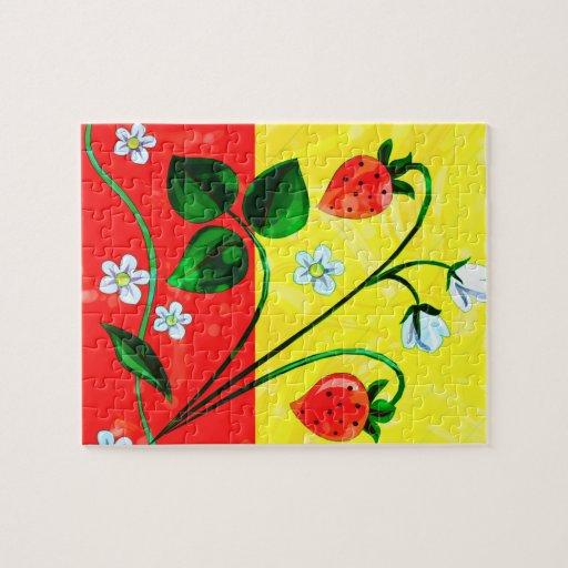 Flores rojas y amarillas de la fresa de la puzzle con fotos