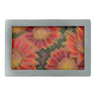 Flores rojas y amarillas hebilla de cinturon rectangular