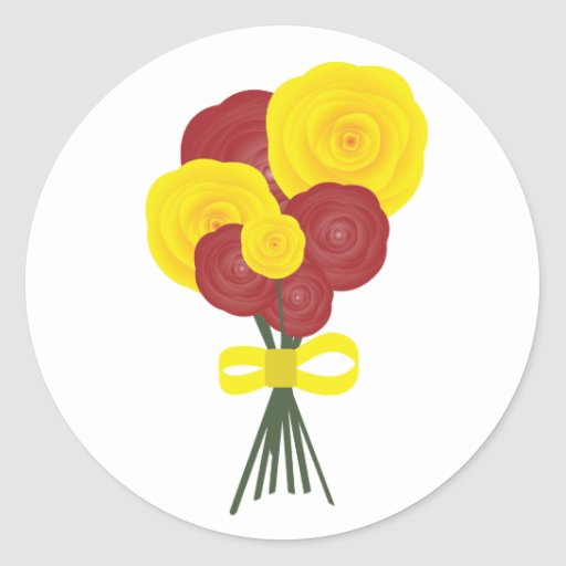 Flores rojas y amarillas pegatina redonda