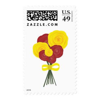 Flores rojas y amarillas sellos