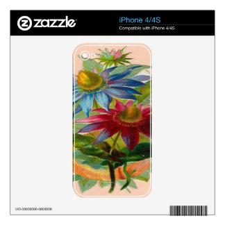 Flores rojas y azules iPhone 4S calcomanía