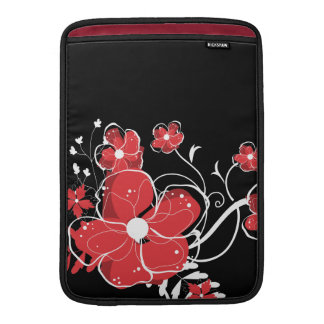 Flores rojas y blancas femeninas modernas fundas MacBook
