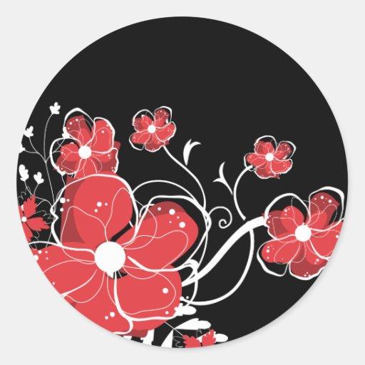 Flores rojas y blancas femeninas modernas pegatinas redondas