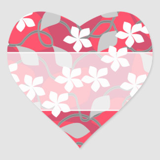 Flores rojas y blancas. Modelo floral Pegatina En Forma De Corazón
