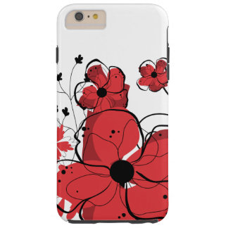 Flores rojas y negras femeninas modernas funda para iPhone 6 plus tough