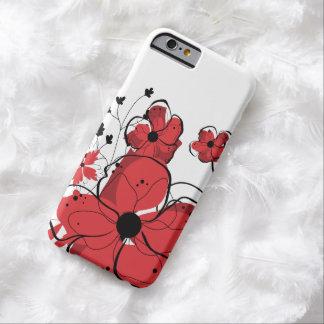 Flores rojas y negras femeninas modernas funda de iPhone 6 barely there