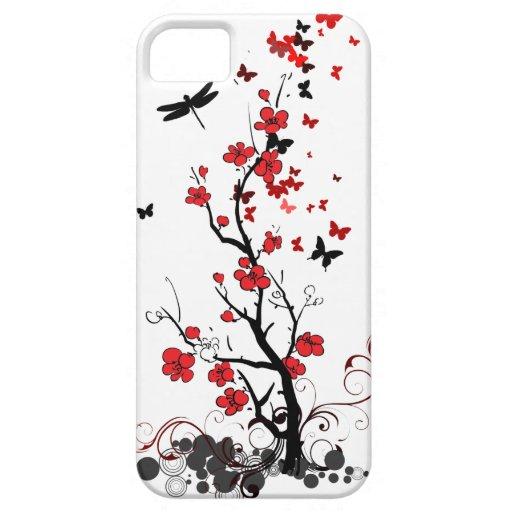 Flores rojas y negras funda para iPhone SE/5/5s