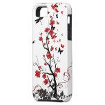 Flores rojas y negras iPhone 5 cárcasa