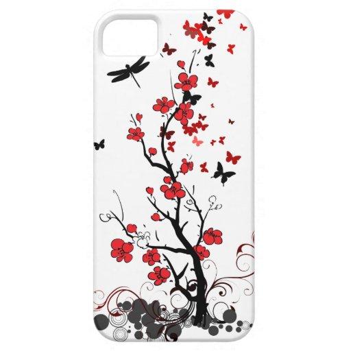 Flores rojas y negras iPhone 5 carcasa