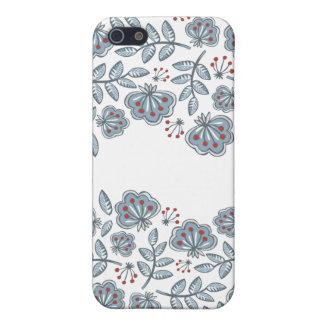 flores rojas y onda azul de las hojas iPhone 5 protector