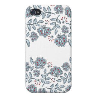 flores rojas y onda azul de las hojas iPhone 4/4S carcasa