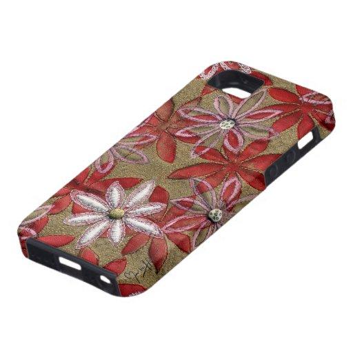 Flores rojas y rosadas acolchadas talladas mano funda para iPhone 5 tough