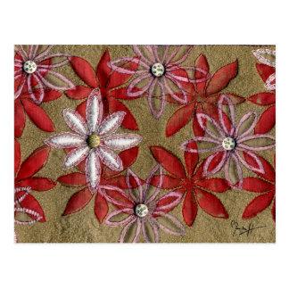 Flores rojas y rosadas acolchadas talladas mano tarjeta postal