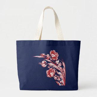 Flores, rojo, blanco y azul del vintage bolsa tela grande