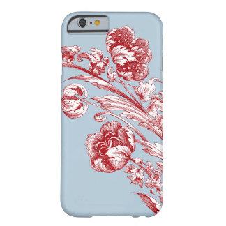Flores, rojo, blanco y azul del vintage funda de iPhone 6 barely there