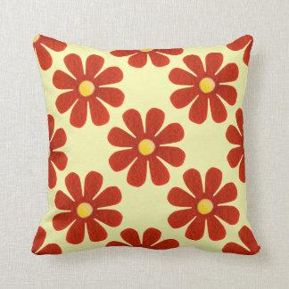 Flores rojo oscuro de la primavera, fondo amarillo cojín decorativo