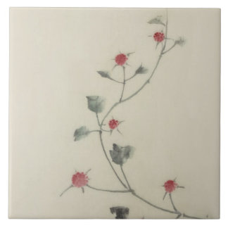 Flores rojos de Hokusai del japonés del vintage en Azulejos Ceramicos