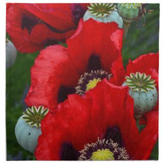Flores rojos de la flor de la amapola servilleta