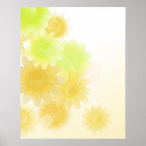 Flores románticas amarillas del vintage impresiones