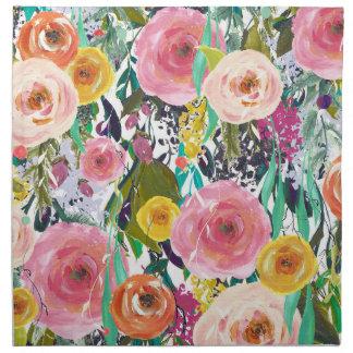 Flores románticas de la acuarela del jardín servilletas