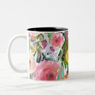 Flores románticas de la acuarela del jardín taza de dos tonos