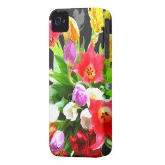 Flores románticas de los tulipanes de la primavera Case-Mate iPhone 4 cobertura