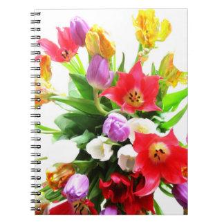 Flores románticas de los tulipanes de la primavera libros de apuntes con espiral