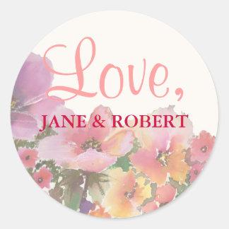 Flores románticas del boda de la acuarela pegatina redonda
