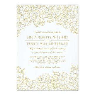 Flores románticas del oro en la invitación blanca invitación 12,7 x 17,8 cm