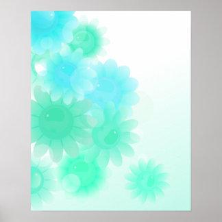 Flores románticas del vintage de la turquesa póster