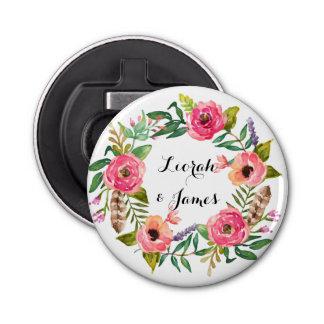 Flores románticas dulces de la acuarela abrebotellas redondo