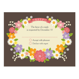 Flores románticas rústicas caprichosas que casan R Tarjeta Postal