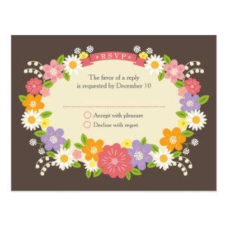 Flores románticas rústicas caprichosas que casan postal