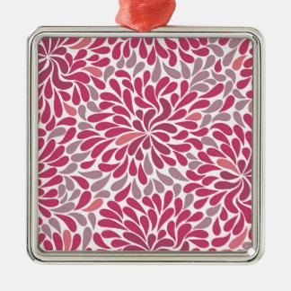 flores rosadas adorno navideño cuadrado de metal