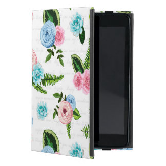 Flores rosadas azules de X en #2 blanco iPad Mini Carcasa