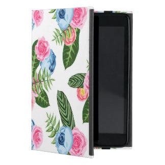 Flores rosadas azules de X en blanco iPad Mini Coberturas