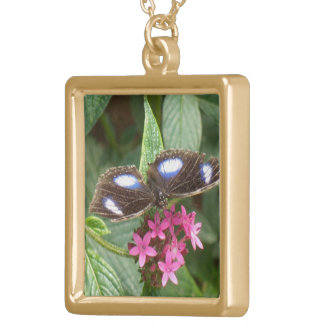 Flores rosadas azules negras de la mariposa colgante cuadrado